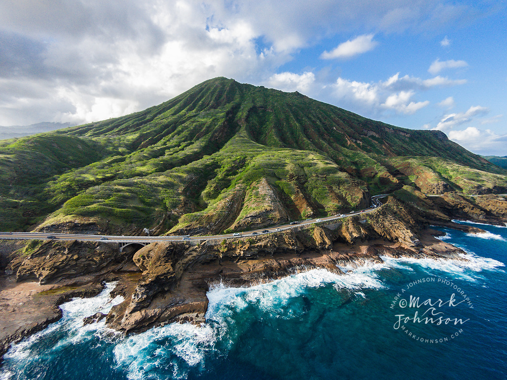 Aerial photograph of Kalanianeole Highway & Koko Crater, Oahu, Hawaii