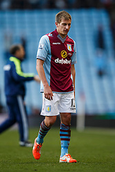 Aston Villa Midfielder Marc Albrighton (ENG) looks dejected after a 1-4 loss - Photo mandatory by-line: Rogan Thomson/JMP - 07966 386802 - 23/03/2014 - SPORT - FOOTBALL - Villa Park, Birmingham - Aston Villa v Stoke City - Barclays Premier League.