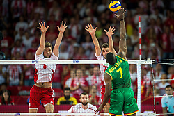 06.09.2014, Jahrhunderthalle, Breslau, POL, FIVB WM, Kamerun vs Polen, Gruppe A, im Bild Andrzej Wrona poland #8 Mateusz Mika poland #20 Jean Patrice Ndaki Mboulet cameroon #7 // Andrzej Wrona poland #8 Mateusz Mika poland #20 Jean Patrice Ndaki Mboulet cameroon #7 // during the FIVB Volleyball Men's World Championships Pool A Match beween Cameroon and Poland at the Jahrhunderthalle in Breslau, Poland on 2014/09/06. EXPA Pictures © 2014, PhotoCredit: EXPA/ Newspix/ Sebastian Borowski<br /> <br /> *****ATTENTION - for AUT, SLO, CRO, SRB, BIH, MAZ, TUR, SUI, SWE only*****