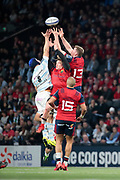 Ian Keatley (Munster Rugby), Chris Farrell (Munster Rugby), Simon Zebo (Munster Rugby), Wenceslas LAURET (Racing Metro 92) during the European Rugby Champions Cup, Pool 4, Rugby Union match between Racing 92 and Munster Rugby on January 14, 2018 at U Arena stadium in Nanterre, France - Photo Stephane Allaman / ProSportsImages / DPPI