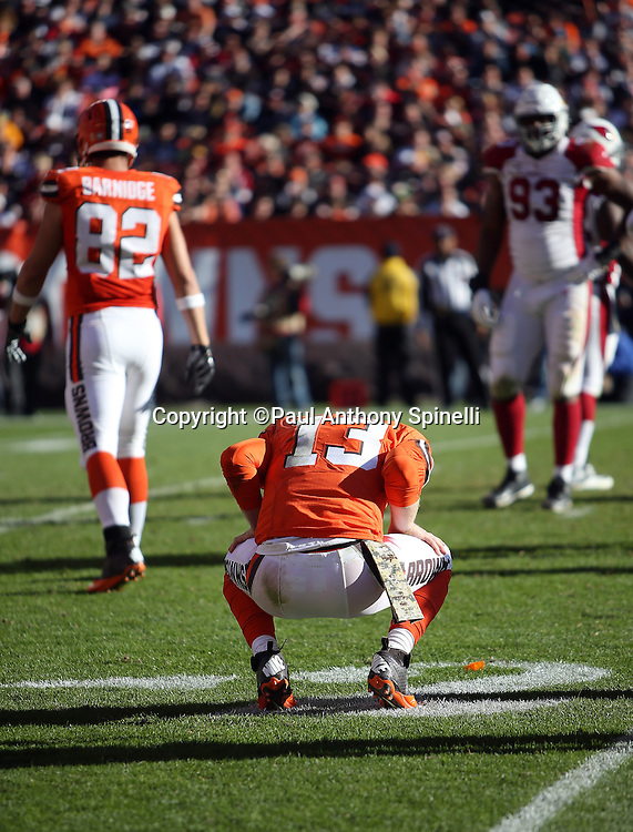 Cleveland Browns quarterback Josh McCown (13) crouches in pain after a hard hit during the 2015 week 8 regular season NFL football game against the Arizona Cardinals on Sunday, Nov. 1, 2015 in Cleveland. The Cardinals won the game 34-20. (©Paul Anthony Spinelli)