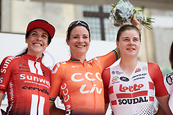Top three on the stage, Marianne Vos (NED), Lucinda Brand (NED) and Lotte Kopecky (BEL) during Stage 10 of 2019 Giro Rosa Iccrea, a 120 km road race from San Vito al Tagliamento to Udine, Italy on July 14, 2019. Photo by Sean Robinson/velofocus.com