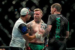 Charlie Ward reacts after losing to Galore Bofando after their welterweight bout during the UFC Fight Night at the SSE Hyrdo, Glasgow. PRESS ASSOCIATION Photo. Picture date: Sunday July 16, 2017. See PA story SPORT UFC. Photo credit should read: Craig Watson/PA Wire.