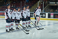 KELOWNA, CANADA - DECEMBER 5: The Tri-City Americans starting line up against the Kelowna Rockets on December 5, 2018 at Prospera Place in Kelowna, British Columbia, Canada.  (Photo by Marissa Baecker/Shoot the Breeze)