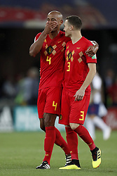 (L-R) Vincent Kompany of Belgium, Thomas Vermaelen of Belgium during the 2018 FIFA World Cup Russia group G match between England and Belgium at the Kalingrad stadium on June 28, 2018 in Kaliningrad, Russia