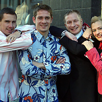 St Johnstone fashion show preview pic....19.02.04<br />Pictured from left, John Robertson, Paul Bernard modelling shirts from Mona Liza, Donald Houston Jim Weir Testimonial Ctte chairman and Darlene Sinclair stylist from John Gillespie hair salon.<br />Picture by Graeme Hart.<br />Copyright Perthshire Picture Agency<br />Tel: 01738 623350  Mobile: 07990 594431