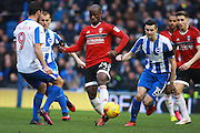 Fulham striker Sone Aluko (24) & Brighton & Hove Albion winger Jamie Murphy during the EFL Sky Bet Championship match between Brighton and Hove Albion and Fulham at the American Express Community Stadium, Brighton and Hove, England on 26 November 2016. Photo by Bennett Dean.