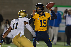 BERKELEY, CA - OCTOBER 06: Quarterback Zach Maynard #15 of the California Golden Bears is pressured by linebacker Anthony Barr #11 of the UCLA Bruins during the third quarter at California Memorial Stadium on October 6, 2012 in Berkeley, California. The California Golden Bears defeated the UCLA Bruins 43-17. (Photo by Jason O. Watson/Getty Images) *** Local Caption *** Zach Maynard; Anthony Barr