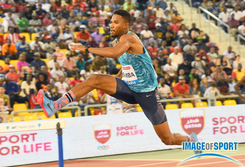 Abderrahman Sama (QAT) wins the 400m hurdles in a meet and Diamond League record 47.57 in the 2018 IAAF Doha Diamond League meeting at Suhaim Bin Hamad Stadium in Doha, Qatar, Friday, May 4, 2018. (Jiro Mochizuki/Image of Sport)