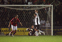 Photo: Rich Eaton.<br /> <br /> Crewe Alexander v Manchester United. Carling Cup. 25/10/2006. Ole Gunnar Solskjaer of Man United celebrates scoring the first goal of the game with arms raised