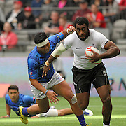 Fiji's Nemani Nagusa was an unstoppable brute as he powered for a try in the second half of Fiji's 38-5 victory over Manu Samoa in the Canada 7's Vancouver, British Columbia, Day 1.   Photo by Barry Markowitz, 4/12/16, 10:30 am