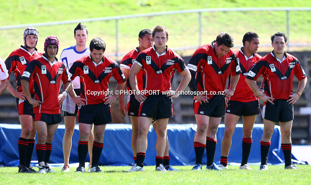 Dejected Bulls players.<br />New Zealand Rugby League 2008 Provincial Premiership Grand Final, Auckland v Canterbury, Mt Smart No.2, Sunday 28 September 2008. Photo: Renee McKay/PHOTOSPORT