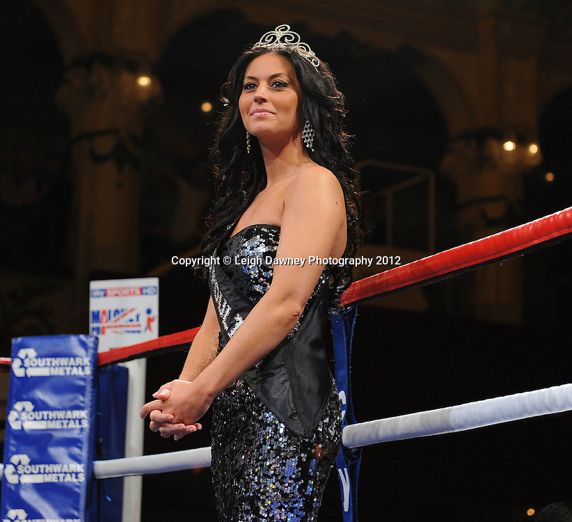 Local Beauty Queen in the ring before Brian Rose defeats Max Maxwell for the British Light Middleweight Champion at The Winter Gardens, Blackpool on the 31st March 2012. Frank Maloney and Steve Wood VIP Promotions. © Leigh Dawney Photography 2012.