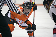 RIT's Carly Payeri awaits a face-off during an exhibition game at RIT's Gene Polisseni Center on Monday, September 29, 2014.