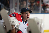 KELOWNA, BC - SEPTEMBER 21:   Mason Beaupit #30 of the Spokane Chiefs stands on the bench against the Kelowna Rockets at Prospera Place on September 21, 2019 in Kelowna, Canada. (Photo by Marissa Baecker/Shoot the Breeze)