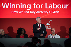 © Licensed to London News Pictures. 23/09/2018. Liverpool, UK. Shadow Chancellor of the Exchequer John McDonnell (centre) speaks at a fringe event at the Labour Party Conference. Photo credit: Rob Pinney/LNP