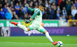 Neil Etheridge of Cardiff City clears the ball- Mandatory by-line: Nizaam Jones/JMP - 02/03/2019 - FOOTBALL - Molineux - Wolverhampton, England -  Wolverhampton Wanderers v Cardiff City - Premier League
