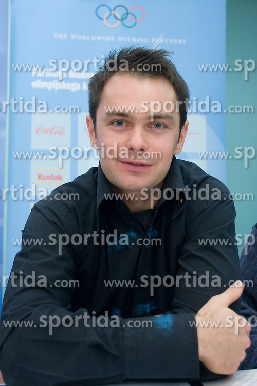 Rok Flander at press conference when he has signed a contract with IOC and OKS for 16 months long sponsorship (1500 $ monthly) till Olympic games in Vancouver 2010, on December 22, 2008, Grand hotel Union, Ljubljana, Slovenia. (Photo by Vid Ponikvar / SportIda).