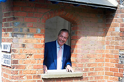 © Licensed to London News Pictures. 23/05/2019.<br /> Downe,UK. Mr Farage leaving the polling station. Brexit Party leader Nigel Farage voting in the European elections at Cudham C of E primary school, Downe, Kent. Photo credit: Grant Falvey/LNP