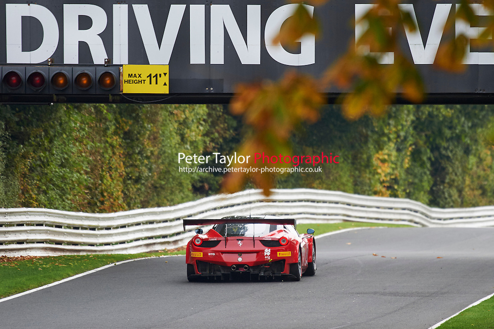 #18 Darren NELSON Ferrari 458 GT3 during GT Cup - Qualifying as part of the MSVR Oulton Park 10th October 2015 at Oulton Park, Little Budworth, Cheshire, United Kingdom. October 10 2015. World Copyright Taylor/PSP. Copy of publication required for printed pictures.  Every used picture is fee-liable. http://archive.petertaylor-photographic.co.uk