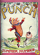 Front cover of Punch Magazine - Summer Number - 1933..Mr Punch skipping through the flowers with his Toby dog .  Illustration by EH Shepard .