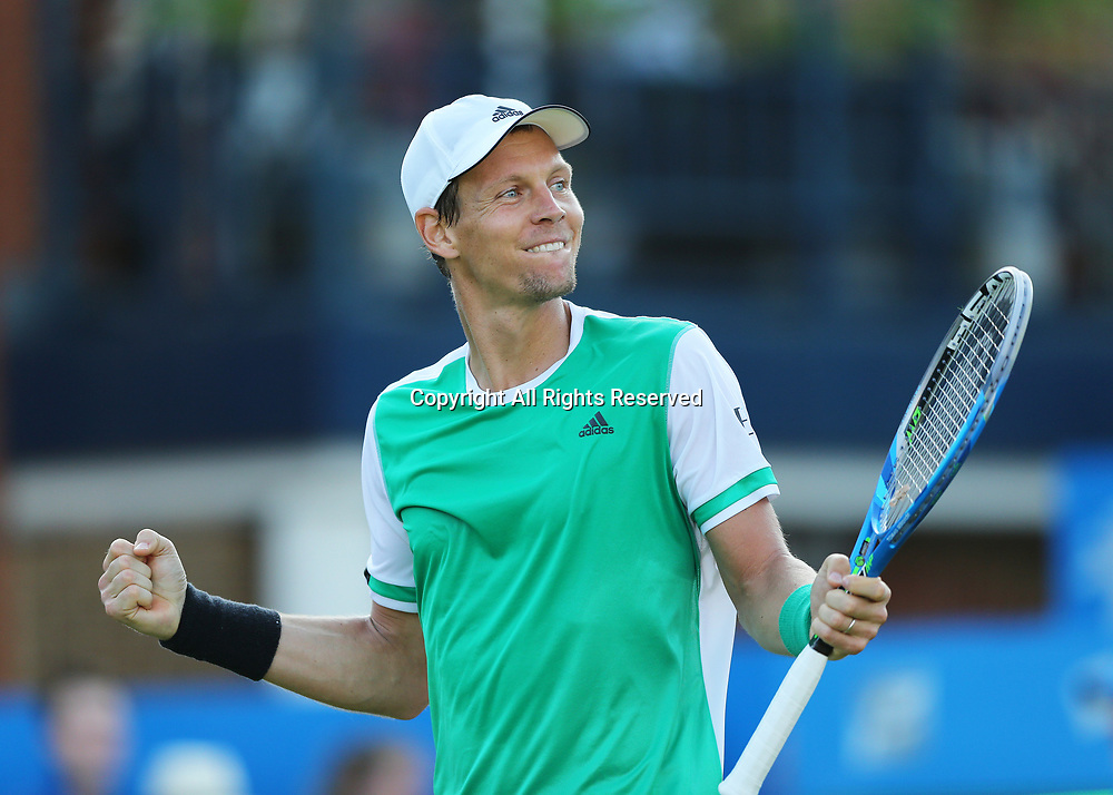 June 21st 2017, Queens Club, West Kensington, London; Aegon Tennis Championships, Day 3; Tomas Berdych of Czech Republic celebrates after defeating Denis Shapovalov of Canada by three sets to two