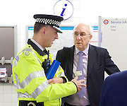 Sadia Khan at London&rsquo;s Night Tube launch at Brixton tube station, London, Great Britain <br /> 19th August 2016 <br /> <br /> <br /> Paul Crowther Chief Constable BTP talks to Leon daniels MD Surface Transport TFL <br /> <br /> Sadia Khan, mayor of London,  launched the first night tube service and travelled on a tube train between Brixton and Walthamstow on the Victoria Line. <br />  <br /> He launched the first 24 hour Friday and Saturday night services on the Central and Victoria lines <br /> <br /> Photograph by Elliott Franks <br /> Image licensed to Elliott Franks Photography Services