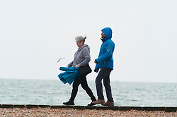 © Licensed to London News Pictures. 08/03/2019. Folkestone, UK. Seafront walk, A cloudy and windy afternoon at Folkestone seafront today with the weekend weather forecasters predicting 70mph winds with heavy rain.Photo credit: Grant Falvey/LNP