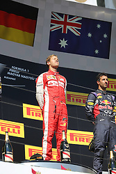 26.07.2015, Hungaroring, Budapest, HUN, FIA, Formel 1, Grand Prix von Ungarn, das Rennen, im Bild Sebastian Vettel (Scuderia Ferrari) geniesst die Sonne auf dem Podium // during the race of the Hungarian Formula One Grand Prix at the Hungaroring in Budapest, Hungary on 2015/07/26. EXPA Pictures &copy; 2015, PhotoCredit: EXPA/ Eibner-Pressefoto/ Bermel<br /> <br /> *****ATTENTION - OUT of GER*****