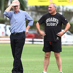 DURBAN, SOUTH AFRICA, 13 November 2015 - Edward Griffiths with Gary Gold (Sharks Director of Rugby) during The Cell C Sharks Pre Season  training for the 2016 Super Rugby Season at Growthpoint Kings Park in Durban, South Africa. (Photo by Steve Haag)<br /> Images for social media must have consent from Steve Haag