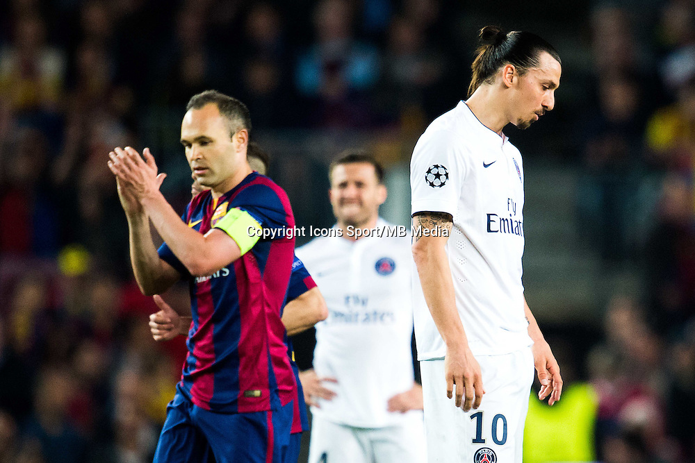 Deception Zlatan Ibrahimovic - 21.04.2015 - Barcelone / Paris Saint Germain - 1/4Finale Retour Champions League<br /> Photo : Stiller / Bildbyran / Icon Sport