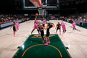 February 11, 2018: Imani Wright #32 of Florida State shoots over Kelsey Marshall #20 of Miami during the NCAA basketball game between the Miami Hurricanes and the Florida State Seminoles in Coral Gables, Florida. The Seminoles defeated the 'Canes 91-71.