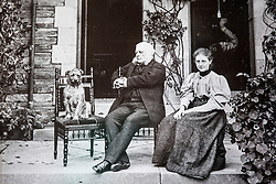 © London News Pictures. Collect picture shows Beatrix Potter age 31 with her father Rupert in 1897 at Lingholm. Previously unseen pictures of Beatrix potter with her family have been unearthed during the purchase and restoration of the Lingholm Estate, the Potter family holiday home, where Beatrix potter drew inspiration for many of her most famous characters. Famous books such as Peter Rabbit and Squirrel Nutkin were inspired by the surroundings of the Cumbria estate, which is being opened to the public for the first time. Photo credit: Andrew McCaren/LNP WORDS AVAILABLE HERE http://tinyurl.com/oyb7url