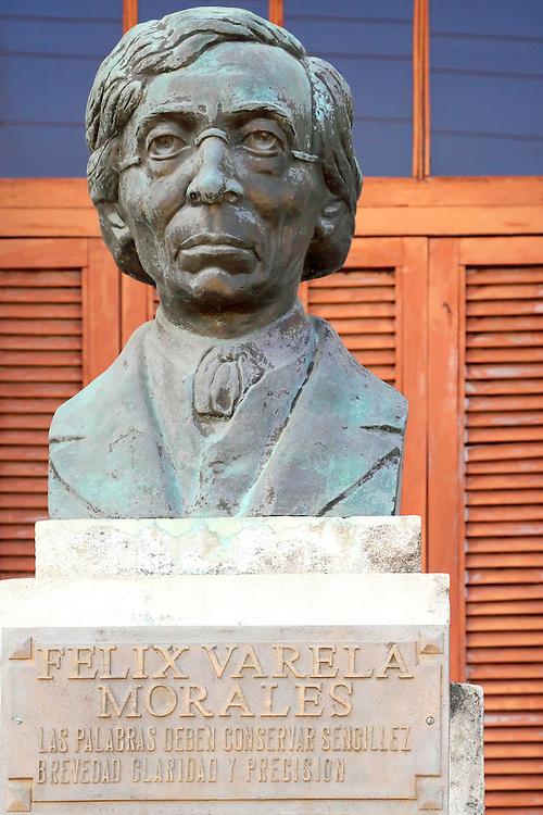 Bronze bust in Camaguey city, Camaguey, Cuba.