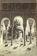 """Le Generalife or the Palacio de Generalife [""""Architect's Garden, the Alhambra, Granada, Andalusia, Spain] Page illustration from the book 'L'Espagne' [Spain] by Davillier, Jean Charles, barón, 1823-1883; Doré, Gustave, 1832-1883; Published in Paris, France by Libreria Hachette, in 1874"""