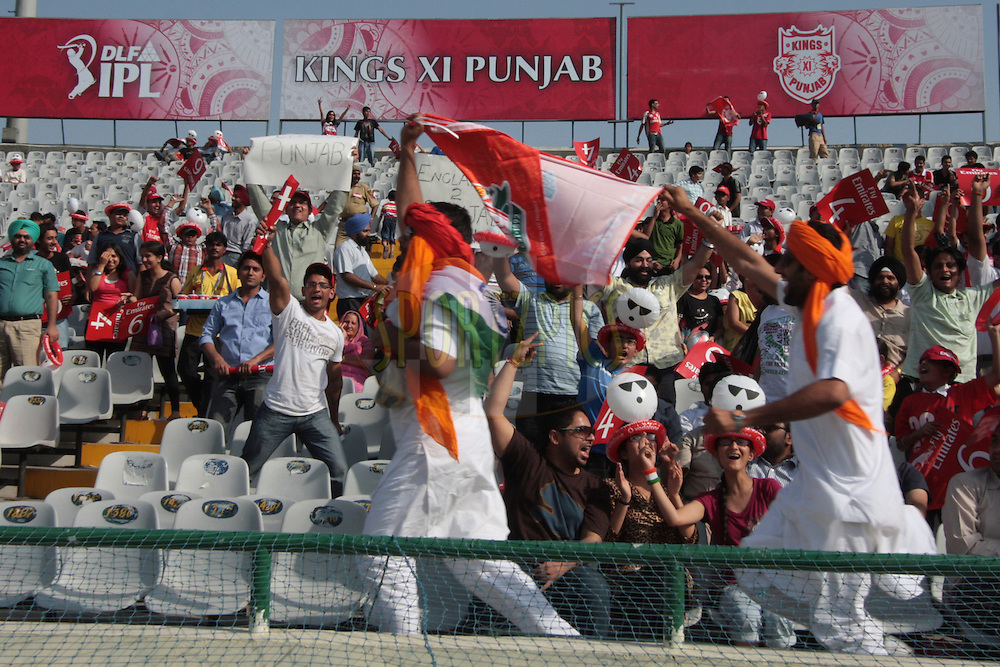 People enjoying during match 9 of the Indian Premier League ( IPL ) Season 4 between the Kings XI Punjab and the Chennai Super Kings held at the PCA stadium in Mohali, Chandigarh, India on the 13th April 2011..Photo by Anil Dayal/BCCI/SPORTZPICS