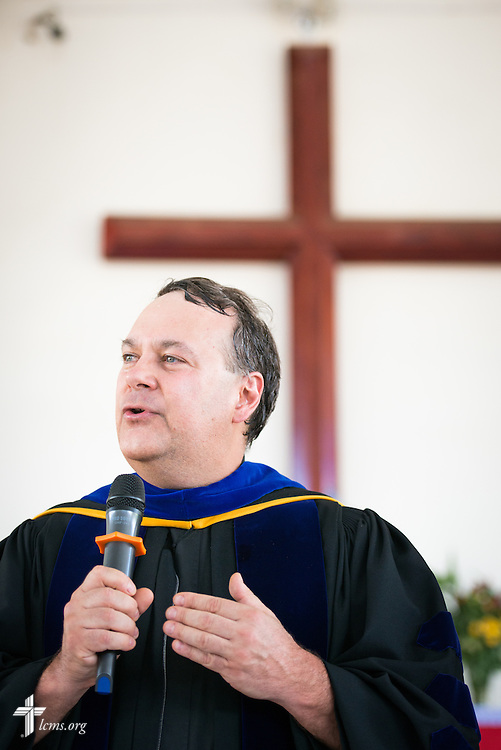 The Rev. Dr. Lawrence R. Rast, Jr., president of Concordia Theological Seminary, Fort Wayne, Ind., speaks during the graduation of 21 pastors and seven deaconesses on Saturday, March 14, 2015, at the Evangelical Lutheran Church in Tanzania – South-East of Lake Victoria Diocese's (ELCT-SELVD) Ebenezer Cathedral in Shinyanga, Tanzania. LCMS Communications/Erik M. Lunsford