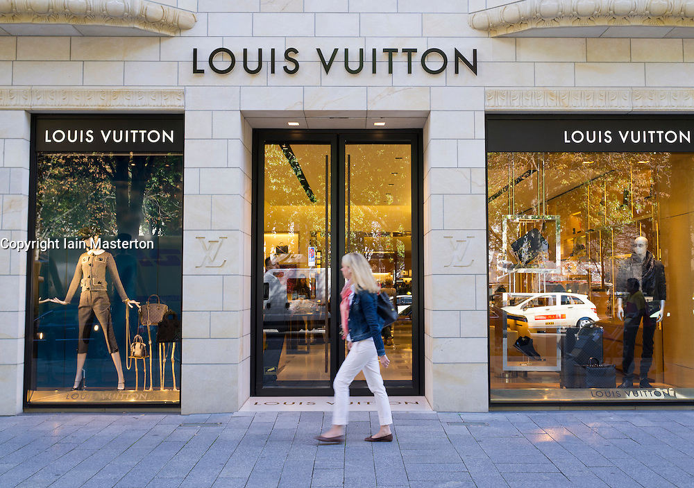 Louis Vuitton upmarket fashion boutique shop on Konigsallee in Dusseldorf in Germany