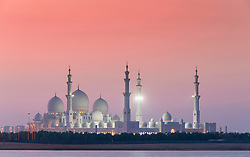 View of  Sheikh Zayed Grand Mosque in the evening in Abu Dhabi United Arab Emirates