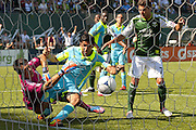 Sept. 15, 2012 - Portland, Oregon, US - Timbers Sal Zizzo (7/green) reacts to game tying goal by Timbers Rodney Wallace in second half action between the Portland Timbers and the Seattle Sounders Football Club. Sounders Michael Gspurrning (1/red) and Leo Gonzalez (12/blue) attempt to save the goal.The game ended in a 1-1 tie. (Credit Image: © Ken Hawkins/ZUMAPRESS.com)