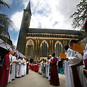 Presiding Bishop Katharine Jefferts Schori of the American Episcopal Church and the first woman elected primate in the Anglican Communion, sings with fellow primates before they process into the Anglican cathedral to celebrate the Eucharist. Leaders of the world's 77 million Anglicans, in Tanzania for a closed, six-day conference, traveled by boat from the mainland to celebrate the Eucharist in the only Anglican cathedral on this predominantly Muslim archipelago on the Indian Ocean.....