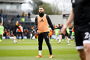 Fulham defender Michael Madl (15) warms up before kick off during the EFL Sky Bet Championship match between Fulham and Wolverhampton Wanderers at Craven Cottage, London, England on 18 March 2017. Photo by Andy Walter.