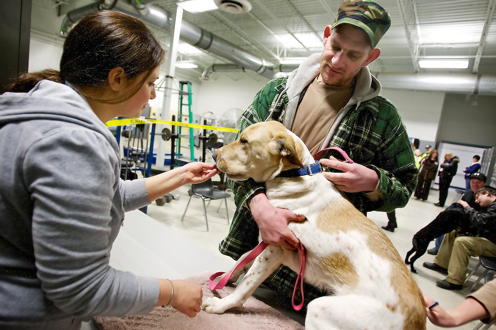 Tom DeShazer calms one of his family's dogs as Serena Streeper, a volunteer Prairie Animal Hospital's on-site clinic, offers the dog a treat Thursday at Project Homeless Connect at the National Guard Armory in Post Falls.