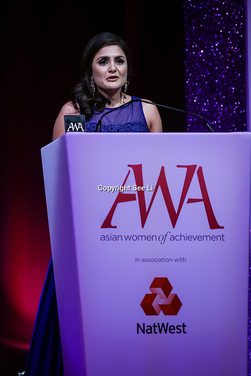 London, UK. 10th May 2017. Professions awards to Vidisha Joshi at The Asian Women of Achievement Awards 2017 at the London Hilton on Park Lane Hotel. Photo by See li