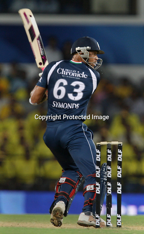 Deccan Chargers Batsman Andrew Symonds Hit The Shot Against Chennai Super Kings Batsman Ravichandran Ashwin Wicket During The Indian Premier League - 42nd match Twenty20 match  2009/10 season Played at Vidarbha Cricket Association Stadium, Jamtha, Nagpur 10 April 2010 - day/night (20-over match)