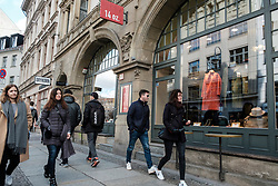 People on Neue Schonhauser Strasse, fashionable street with many designer boutiques in Mitte , Berlin, Germany