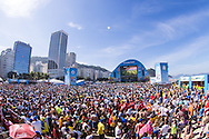 Fans pack the FIFA Fan Fest, Copacabana beach, Rio de Janeiro, during the Argentina v Belgium World Cup quarter final match which was shown on big screens.<br /> Picture by Andrew Tobin/Focus Images Ltd +44 7710 761829<br /> 05/07/2014