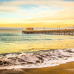 Newport Beach California pier panorama photo. Panoramic picture ratio is 1:3. Newport Pier is a popular attraction in Orange County California.