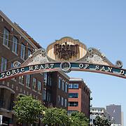San Diego historic heart sign. San Diego, CA.