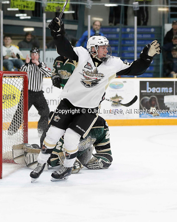 TRENTON, ON - MAR 31,  2017: Ontario Junior Hockey League, North East Conference Championship game between Trenton Golden Hawks and the Cobourg Cougars., Max Ewart #51 of the Trenton Goldenhawks celebrates the game winning goal<br /> (Photo by Amy Deroche / OJHL Images)